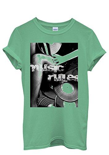 Music Rules Retro Vinly Sexy Girl Cool Men Women Damen Herren Unisex Top T Shirt Grün