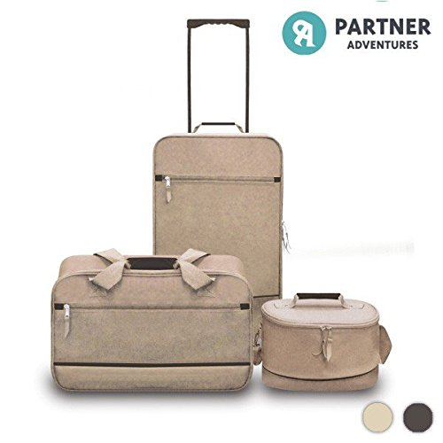 Set 3 Valigie Trolley Borsa da Viaggio Beauty Case Beige Ruote Ultraleggere