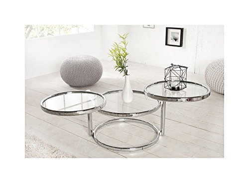 Designer Couchtisch Rund Chrom in Silber Tisch Beistelltisch REPRO Art Deko Rund Praxis Wohnung Büro Breite: Min.55cm / Max.155cm