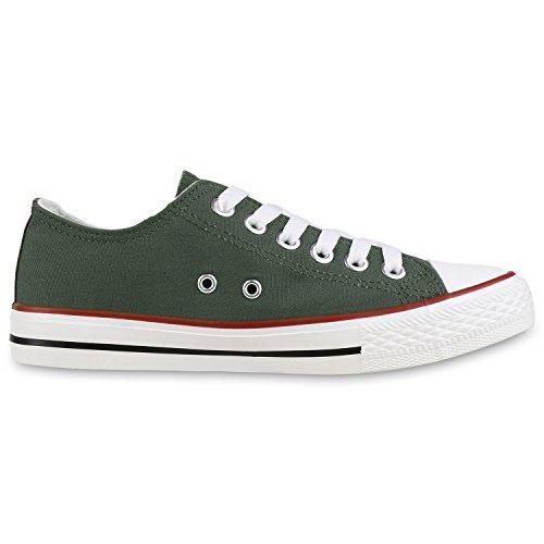 Sneakers best-boots da donna scarpe da ginnastica atletica scarpe Cords Slipper Dunkelgrün Verde Nuovo