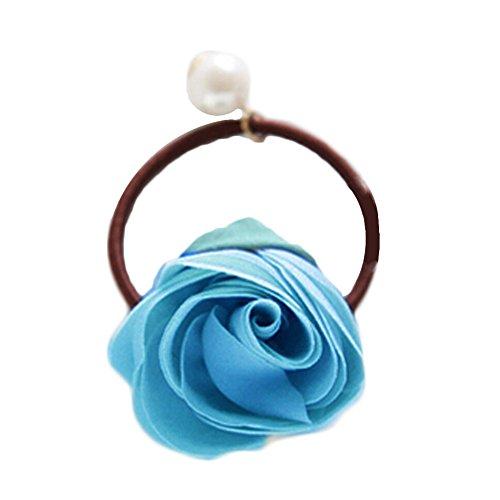 3 pcs Bleu Tenir Ponytail Étroitement Elastics Rose Bud d'été brillan