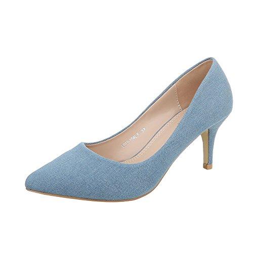 Ital-Design Klassische Pumps Damen-Schuhe Klassische Pumps Pfennig-/Stilettoabsatz High Heels Pumps Hellblau, Gr 36, 5015-104Lf-