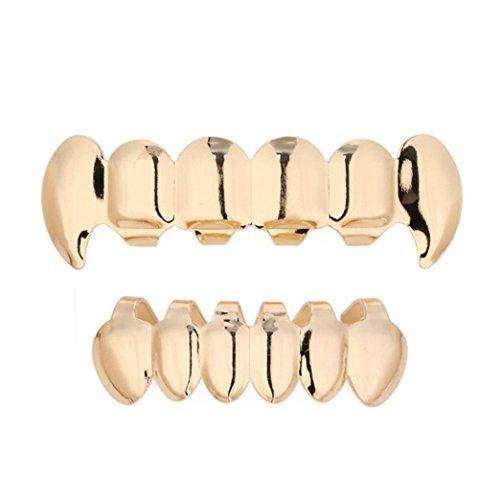 Malloom 1 Ensemble de dents de hip hop plaqué or Grillz Top & Bottom Grill Grenouilles de dents Mode (Or)