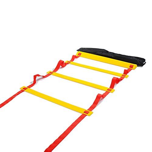 MELAG Trainingsleiter Koordinationstraining Beweglichkeitsleiter-Schnellleiter-Energieleiter-Fußballtrainingsgerät-Sprunggitterleiter-weiches Strickleitertrainingsleiter-Strickleiterleiter-rotes