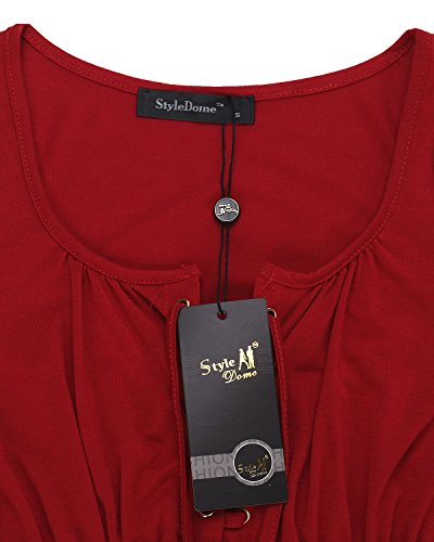 StyleDome Damen V-Ausschnitt Lose Langarm Strand T-Shirts Bluse Oberteil Tops Weinrot#