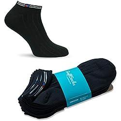 SoftSocks Calcetines SNEAKER clásicos para mujeres, hombres y adolescentes, ¡conjuntos negros, blancos y coloridos! Algodón rico! 6 pares en el set (Negro, 35-38)