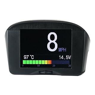 Autool X50 Plus OBD II, Bordcomputer für häufige Fehler, Code-Scanner, Kühlwassertemperaturanzeige, mit LCD-Display für m/ph und km/h (Black)