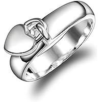 Anillo de compromiso chapado en plata para boda, regalo para mujer, niña (talla P)