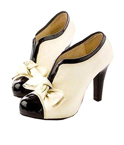 Minetome Damenschuhe Vintage Bogen Pumps High Heels Beige Creme Ankle Boots Stiefeletten Stilettosabsatz Winterstiefel ( EU 39 ) - 2