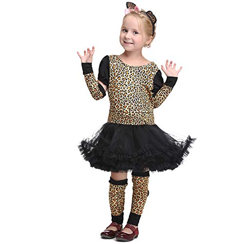 Treat Or Cartoon Kostüm Trick - LOLANTA 4pcs Kinder Mädchen Leopard Kostüm Trick or Treat Animal Dress Up Halloween Kostüm