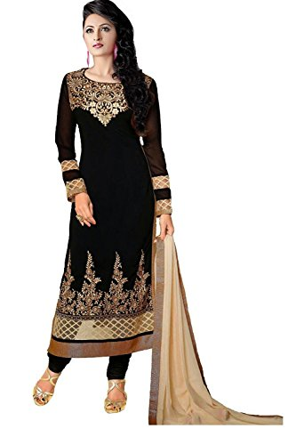 Clickedia Women's Faux Georgette Anarkali Semi-Stiched Salwar Suit (Karishma 36000 pink_Free Size_Pink)  available at amazon for Rs.749