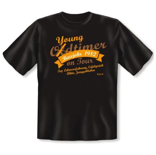 Zum 32. Geburtstag! OLDTIMER YOUNGTIMER Baujahr 1982 on Tour! T-Shirt Lustiges Geburtstagsgeschenk! Gr: 5XL Fb. schwarz (Tour 1982 T-shirt)