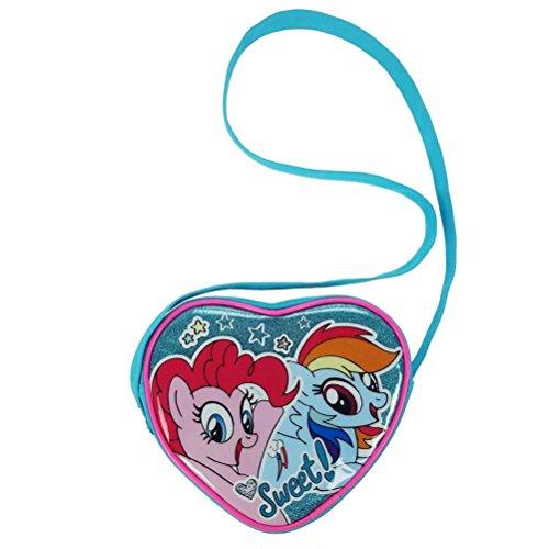 (My Little Pony Glitter Herz Crossbody Messenger Tasche, 18cm, aqua blau)