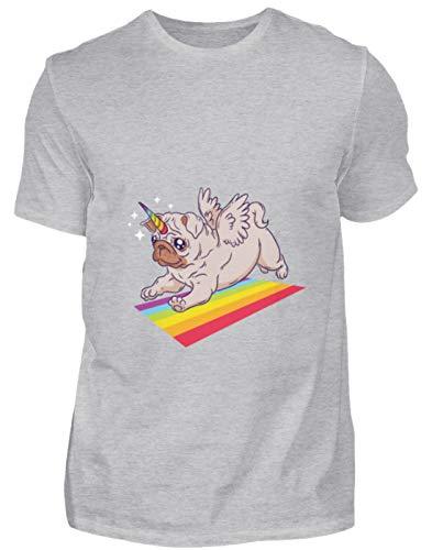 MOPS Einhorn Regenbogen T-Shirt Hoodie - Chemise Homme Bio -XXL-gris bruyère -