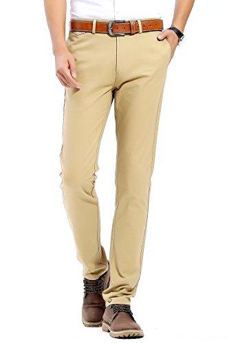 Pantalones Casuales de Hombre, 100% algodón, Slim Fit, Pantalones Estilo Chino, Beis, 33