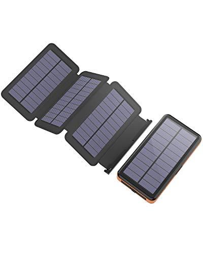 X-DRAGON Chargeur Solaire Powerbank 25000mAh Détachable Batterie Externe avec 4 Panneaux Solaires Lumière LED pour iPhone, iPad, Samsung Galaxy, Huawei, Smartphones, Xiaomi, Camping