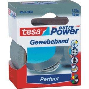 6 x Tesa Gewebeband extra power 2.75mx38mm grau