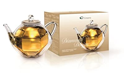 """Théière Creano'""""Design diamant"""" en verre, théière de verre avec double paroi, théière de verre avec effet isotherme ~ isolant, 800ml"""