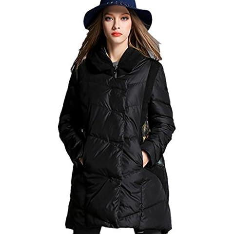 XYXY Mitad de la longitud 3D mujeres abajo capa de algodón con capucha . black . xxxxxl