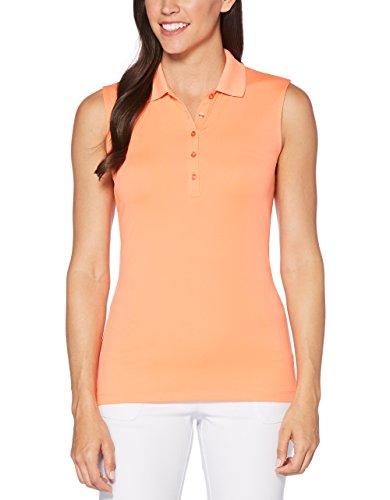 Fusion Ärmellos (Callaway Damen-Core Solid Micro Hex Ärmelloses Golf Polo Shirt, Damen, CGKS8071, Fusion Coral, XS)