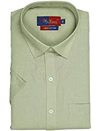 9f35079230393 McHenry Mens Solid Formal Regular Fit Half Sleeves Linen Cotton Shirts (Size 39(