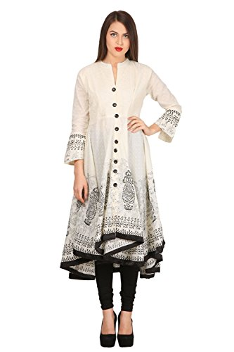 Vastraa Fusion Cotton Creamy and Black Embroidered Long Anarkali Kurti - XLarge