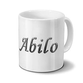 Tasse mit Namen Abilo - Motiv Chrom-Schriftzug - Namenstasse, Kaffeebecher, Mug, Becher, Kaffeetasse - Farbe Weiß