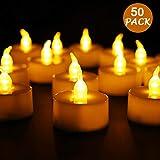 LED Kerzen,Sporgo 50 Stücke LED Flammenlose Kerzen,LED Teelichter Kerzen Flammenlos Hell Blinkend Elektrische Teelichter Kerze für Halloween Weihnachten Party Bar Hochzeit Valentinstag(Flicker Gelb)