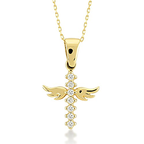 Gelin Women 14 ct Real Gold Angel Wings Christ Cross Pendant Chain Necklace with Cubic Zirconia - A Perfect Surprise Gift for Her, 45 cm