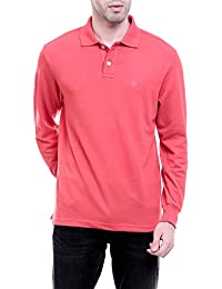 CHKOKKO Cotton Polo Neck Full Sleeves Plain T Shirt For Men