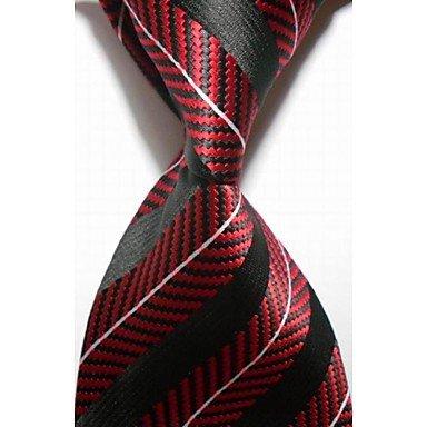 Handgemachte Weiß-gestreift Seide Krawatte (FYios®Neue gestreift Weiß Rot Schwarz Herren Krawatte Krawatte #3015, One-Size, One-Size)