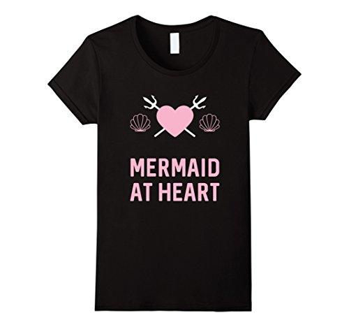 funny-mermaid-at-heart-t-shirt-cute-mermaids-gift-damen-grosse-s-schwarz
