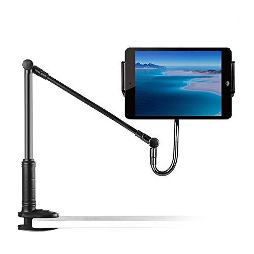 Handy & Tablet Ständer, Foraco Verstellbarer und abnehmbarer Halterung mit 3 Arms und Halter für 4 bis 14 Zoll Apple oder Android-Geräte (iPhone, iPad, iPod usw.), Klammer für MAX. 75CM, Schwarz