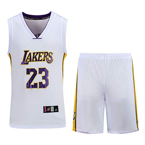 Hanbao Herren-und Unisex-Basketball-T-Shirt-Sommer-Stickerei Basketball-Uniform NBA Lakers #23 James Fan Edition # Jersey-Classic ärmelloses Top und Shorts