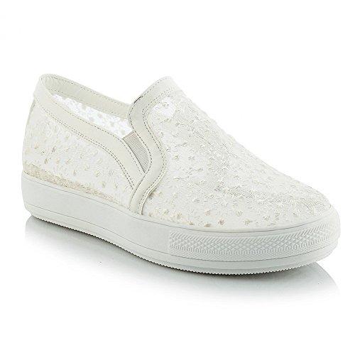 AllhqFashion Damen Rund Zehe Ziehen Auf Blend-Materialien Rein Niedriger  Absatz Pumps Schuhe Weiß
