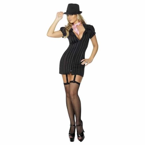Smiffys, Damen Gangster Lady Kostüm, Nadelstreifen-Kleid und Halstuch, Größe: M, (Kostüm Gangster Damen)
