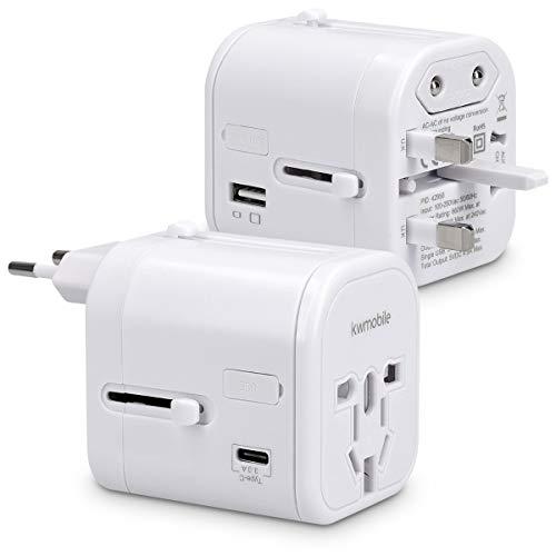 kwmobile adaptador de viaje para 150 países - adaptador de corriente universal con 4 puertos USB - adaptador para viajes 3A tipo C en blanco
