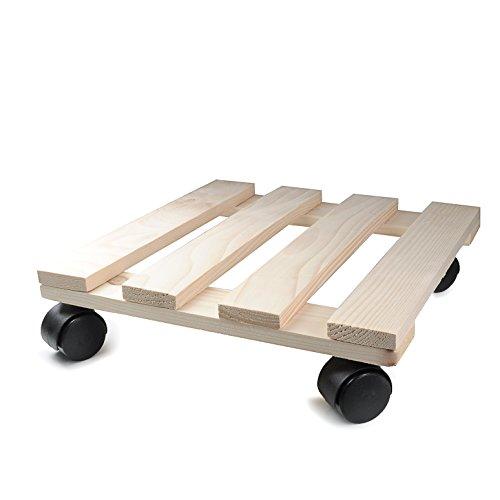 Pflanzenroller aus Holz 30cm x 30cm eckig mit Kunststoff-Rollen, Tragkraft 120kg, Holz-Roller für Pflanzentöpfe oder anderer Dekoration, Möbel-Roller getackert, Farbe: Holz / Fichte - Marke YOUZiNGS