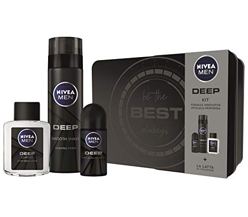 Nivea Men Deep Kit Set Regalo Uomo con Deep Schiuma da Barba 200 ml, Deep Deodorante Roll-on Antitraspirante 50 ml, Deep Lozione Dopobarba 100 ml
