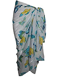 White Cotton Sarong with Multi Coloured Butterfly Design
