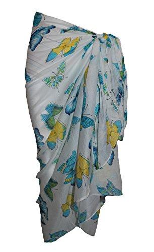 Weiß Baumwolle Sarong mit bunten Schmetterling Design Turquoise/Yellow/Green