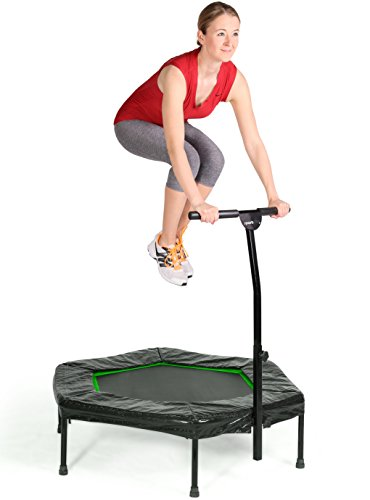 SportPlus Fitness Trampolin, Bungee-Seil-System, Ø 110 cm, bis 130 kg Benutzergewicht, TÜV Süd Sicherheit geprüft, grün - 2