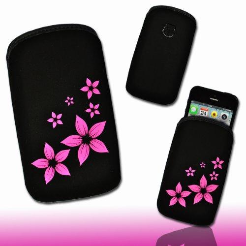 Handy Tasche Stoff schwarz/pink M44-2 für Samsung Galaxy Fame S6810 / Samsung Galaxy Music S6010 / Alcatel 385D / Alcatel One Touch Fire / LG Optimus L3 II E430 / Sony Xperia E / ZTE Open / Samsung Galaxy Star S5280