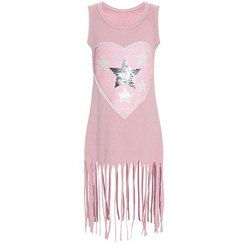 Kinder Mädchen Wende-Pailletten Long Kleid Sweat Shirt 21270 Rosa Größe 116
