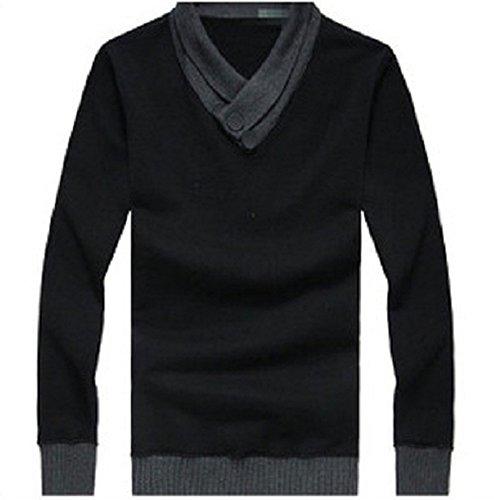 BOMOVO Herren V-Ausschnitt Feinstrick Strickpullover Pullover Sweatshirts Schwarz