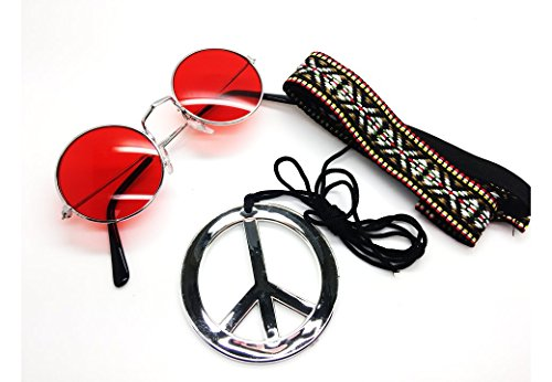 Rot–Hippie Haarband & Gläser, Kit Rot Herren Damen Unisex Fancy Kleid 60er 70er Jahre Hippie-Kit (Kit Herren Hippie Für)