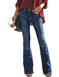 De Las Mujeres Color sólido Apretado los Pantalones de Campana Pantalones  Otoño e Invierno Cintura Alta 46ff8a8d6f98