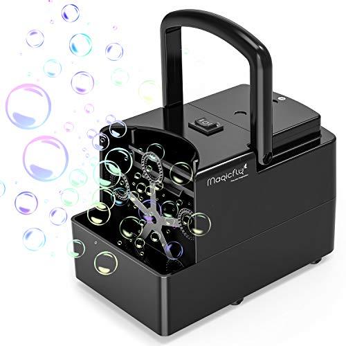 Magicfly Tragbare Seifenblasenmaschine, Seifenblasen Maschine Angetrieben von Batterie oder Stecker für Outdoor, Indoor, Hochzeit, Geburtstagsfeier und Kinder, Schwarz