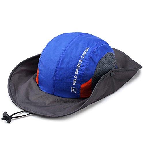 WYYY Chapeaux Hommes Visière Round Top Respirant Séchage Rapide Protection Contre Le Soleil Protection UV de Plein air (Couleur : Bleu)