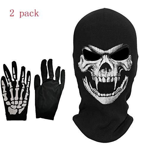 Kungfu Mall 1PC Schädel Maske, 1 Paar Handschuhe für Halloween Party, Halloween Kostüm Cosplay (Einzigartige Schädel Kostüm)